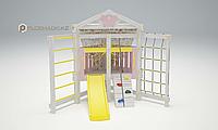 Детская площадка Савушка BABY-9, игровой домик, сетка-лазалка, скаладром с канатом, горка., фото 1