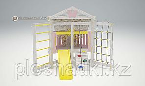 Детская площадка Савушка BABY-9, игровой домик, сетка-лазалка, скаладром с канатом, горка.