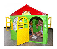Doloni Домик детский квадратный с карнизами и шторками красный/зеленый