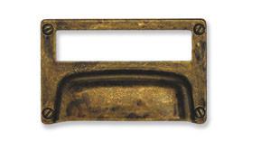 Ручка-раковина с рамкой, *Art Deco* 80х50мм, 32мм, латунь пат., винт