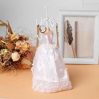 Подставка для урашений 'Силуэт девушки в платье' свадьба, h26,5, цвет белый