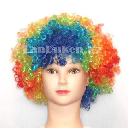 Парик карнавальный цветной для клоуна (разноцветный объемный) - фото 1