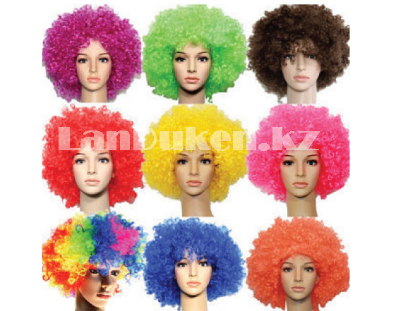 Парик карнавальный цветной для клоуна (разноцветный объемный) - фото 2