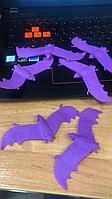 Набор для Хэллоуина фиолетовые летучие мыши  6 штук