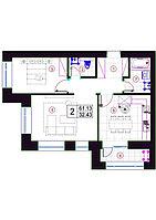 """2 комнатная квартира в ЖК """"Qazanat 2"""" (Казанат 2)  61.13 м², фото 1"""