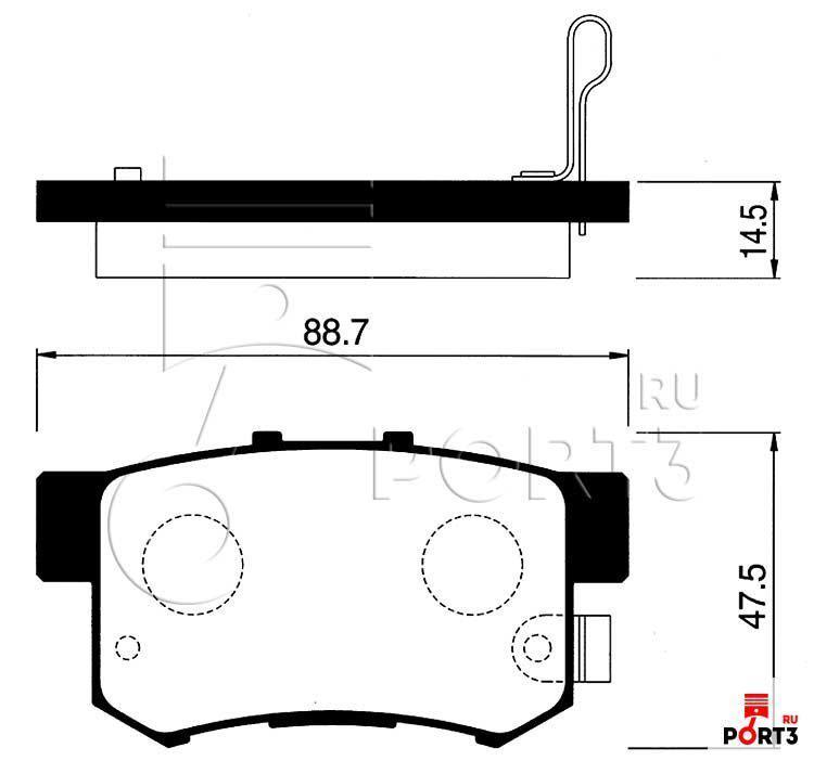 Колодки задние Honda CR-V 02-05, Accord >90, Civic >98