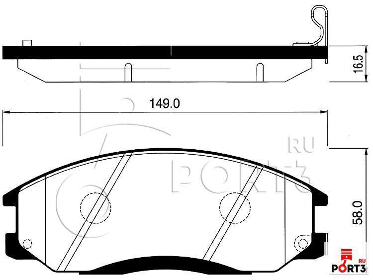 Колодки передние Hyundai Santa FE SM 00-05, Equus 3.0-3.5 (R15) 99-02