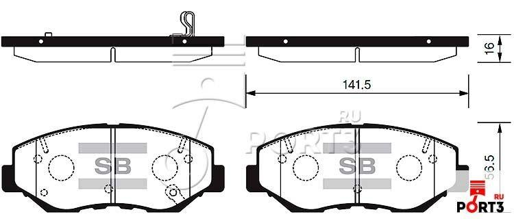 Колодки передние Honda CR-V >02, Accord >03