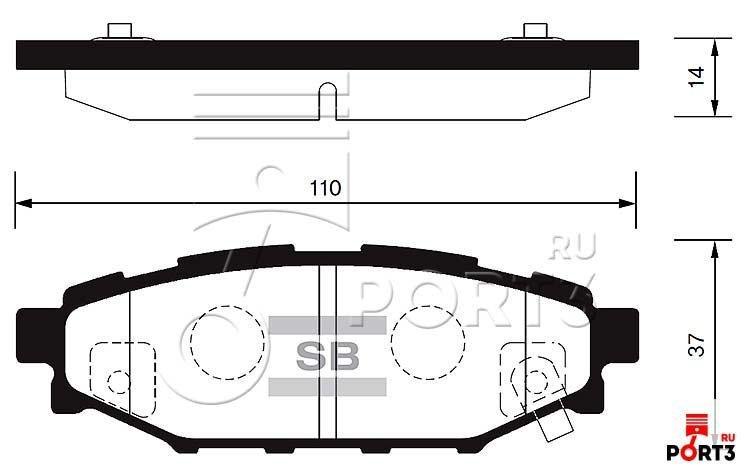 Колодки задние Subaru Forester SH >08, Impreza >08, Legacy 04-05, Outback >04