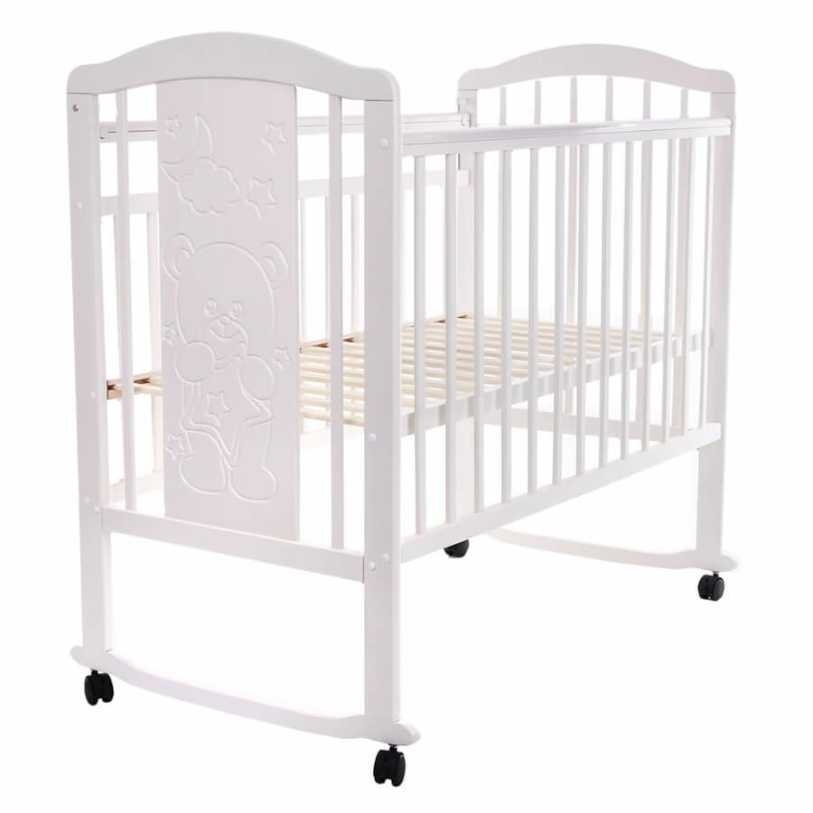Детская кроватка Pituso Noli колесо-качалка Мишутка Белый