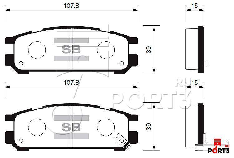 Колодки задние Subaru Impreza 93-98, Legacy 89-00, Outback 96-00