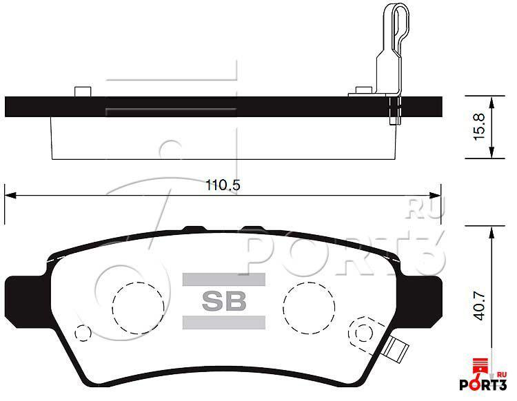 Колодки задние Nissan Pathfinder R51 >05, Pick Up >05