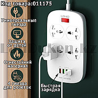 Удлинитель сетевой фильтр LDNIO SC4407 4 розетки 3USB+1 быстрая зарядка FastCharge USB 2м с кнопкой выключения