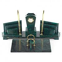 """Офисный канцелярский набор """"Бюрократ"""" из темно-зеленого змеевика"""