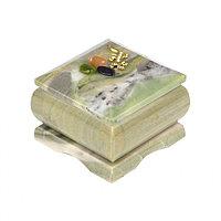 Шкатулка с прямой ящерицей офиокальцит 6,5х6,5х5 см