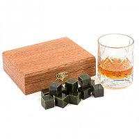 Подарочный набор камни для виски 12 кубиков из нефрита в деревянной коробке
