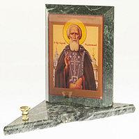 Икона с подсвечником Святой Сергий Радонежский средняя из змеевика 12х12х13 см