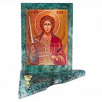 Икона с подсвечником Архангел Михаил средняя из змеевика 12х12х13 см
