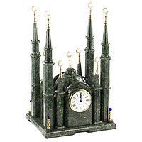 """Часы """"Мечеть"""" из камня змеевик большие"""