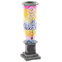"""Настольная ваза из камня """"Зимний пейзаж"""" рисунок из каменной крошки"""