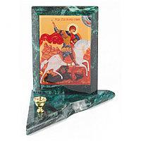 Икона с подсвечником Георгий Победоносец малая змеевик 9,5х9,5х10 см