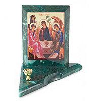 Икона с подсвечником Святая Троица малая из змеевика 9,5х9,5х10 см