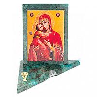 Икона с подсвечником Владимирская средняя из змеевика 12х12х13 см