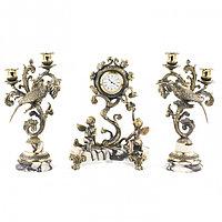 """Каминные часы из мрамора с канделябрами из бронзы """"Колибри"""""""