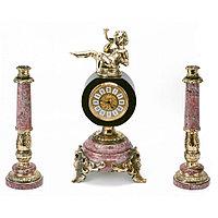 """Интерьерные часы с подсвечниками """"Ангел с дудочкой"""" камень креноид бронза"""