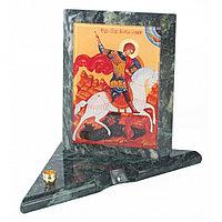 Икона с подсвечником Георгий Победоносец средняя из змеевика 12х12х13 см