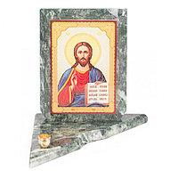 Икона с подсвечником Спаситель средняя из змеевика 12х12х13 см
