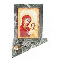 Икона с подсвечником Казанская средняя из змеевика 12х12х13 см