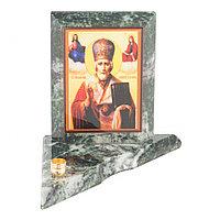 Икона с подсвечником Николай Чудотворец малая из змеевика 9,5х9,5х10 см