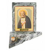 Икона с подсвечником Серафим Саровский малая из змеевика 9,5х9,5х10 см