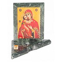Икона с подсвечником Владимирская малая из змеевика 9,5х9,5х10 см