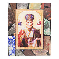 Икона настольная Николай Чудотворец рамка мозаика из самоцветов 10х13х3 см