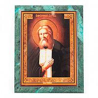Икона настенная Серафим Саровский из змеевика 14х18х12 см