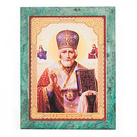 Икона настенная Николай Чудотворец из змеевика 14х18х12 см