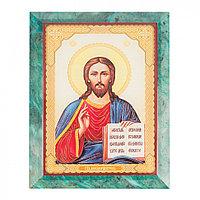 Икона настенная Спаситель из змеевика 14х18х12 см