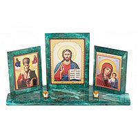 Икона с подсвечниками Триптих из змеевика 24х6,5х12,5 см