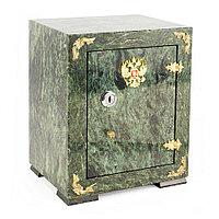 Подарочный сейф из камня с гербом РФ змеевик 19х15,5х23,5 см