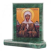 Икона настольная Матрона Московская малая змеевик 7,5х6,5х8 см