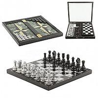 Настольный набор Шахматы Шашки Нарды 3 в 1 из камня