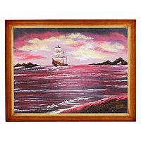 """Картина """"Рубиновый закат с парусником"""" багет дерево 36х46 см, каменная крошка"""