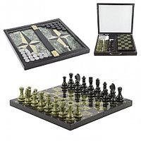 Шахматы шашки нарды 3 в 1 из змеевика