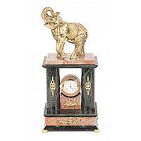 """Часы каминные """"Могучий слон"""" камень креноид и змеевик"""