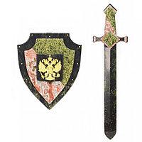 """Настенный сувенир из камня """"Щит и меч"""" с гербом России"""