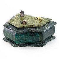 Шкатулка камень змеевик 17х13х8 см
