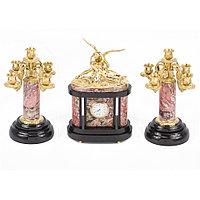 """Каминные часы с канделябрами из бронзы """"Амур и Психея"""""""
