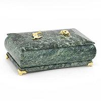 "Шкатулка ""Дуэт"" из камня змеевик 19x10x7 см"
